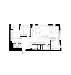 architectural plan with the furniture vector image vector image