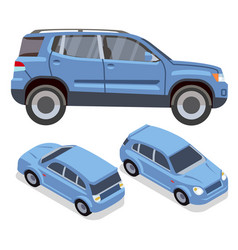 flat-style cars in different views blue vector image