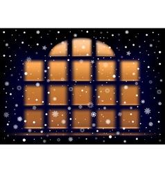 Snow night extra large window vector