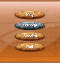 cartoon style wooden buttons with vector image vector image