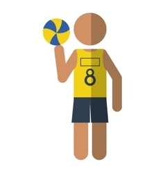 Character player volleyball yellow tshirt vector