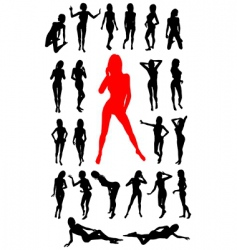girl silhouettes collection vector image vector image