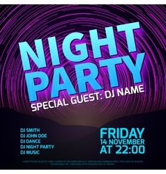 Night party background with star trails and place vector image