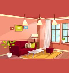 cartoon living room apartment interior vector image