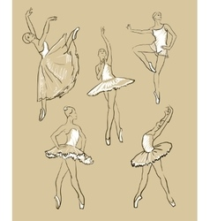 sketch of girls ballerinas set vector image