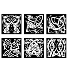 Stylish intricate stylized birds and animals vector image vector image