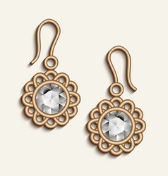 Vintage gold jewelry earrings with diamonds vector