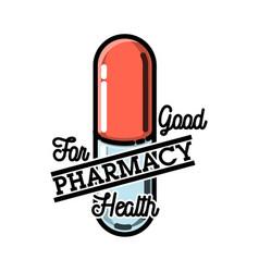 color vintage pharmacy emblem vector image vector image