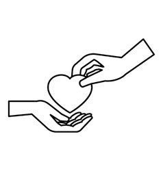 Hand gives heart icon outline style vector image