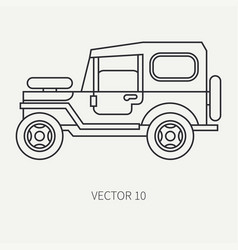line flat hunt and camping icon off-road vector image vector image