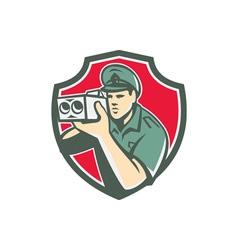 Policeman speed camera shield retro vector