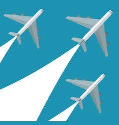 set airplane flying design vector image