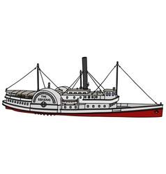 Vintage paddle steamer vector image