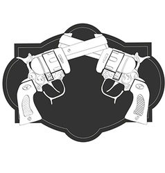 Wild West crossed hand guns vector image