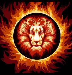 zodiac sign of lion in fire circle vector image vector image