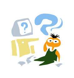 a perplexed boy facing an unsolvable problem vector image