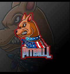Angry pitbull wearing a scarf mascot logo vector