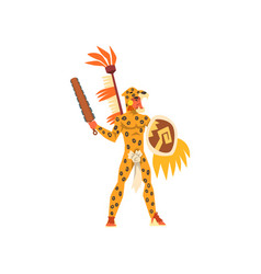 armed tribal male warrior in leopard hide and vector image