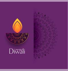 artistic diwali greeting with mandala decoration vector image