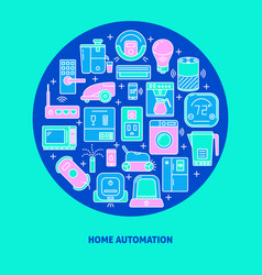 Automated home round poster template with smart vector
