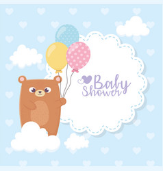 bashower teddy bear with balloons clouds vector image