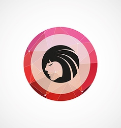 Beauty girl face circle pink triangle background vector