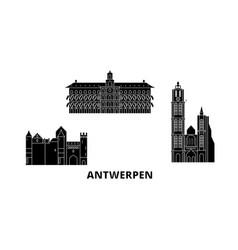Belgium antwerpen flat travel skyline set vector