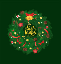 best wishes pine tree wreath with bells and bows vector image