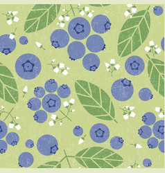 Blueberry seamless pattern leaves flowers shabby vector