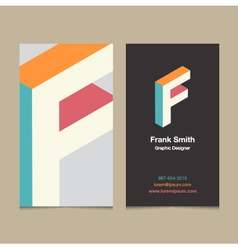 business card letter F vector image