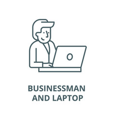 businessman behind a laptop line icon vector image