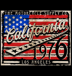 California american flag retro style graphic vector