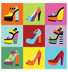 Candy colors shoe set vector