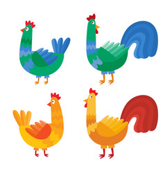 cartoon cock and chicken isolated on white vector image