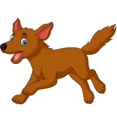 cartoon happy dog running vector image