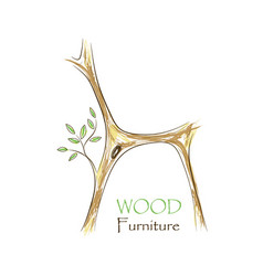 Chair with tree twigs - eco friendly vector