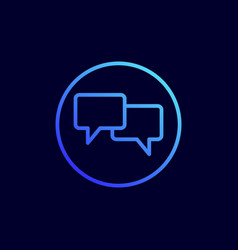 chat icon in flat line style vector image