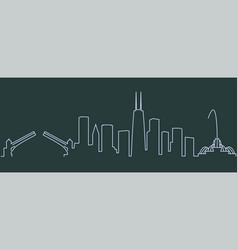 Chicago single line skyline vector