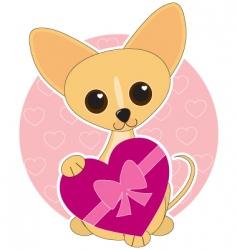 chihuahua heart theme vector image