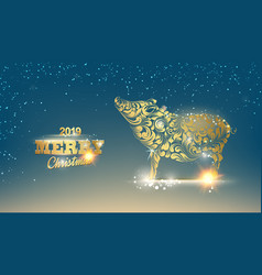 christmas card with calligraphic text over dark vector image