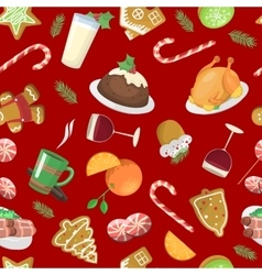 Christmas food pattern vector image