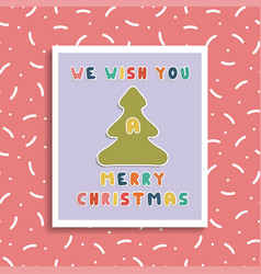 christmas greeting card on memphis background vector image