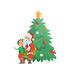 christmas holiday santa claus and small boy on lap vector image