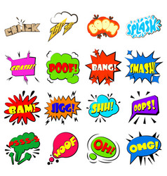 comic bubbles set icons set cartoon style vector image