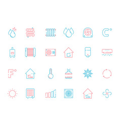 cooling icons heating home conditioning symbols vector image