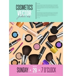 Cosmetics Promo Poster with Date and Time vector image