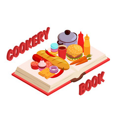 Culinary book isometric composition vector