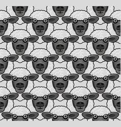 cute black sheep face seamless pattern vector image