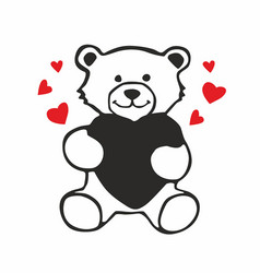 cute teddy bear holding red heart isolated vector image