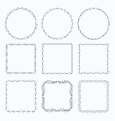 decorative frames and borders square set vector image